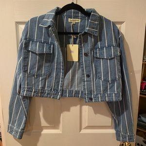 Cropped Striped Jean Jacket